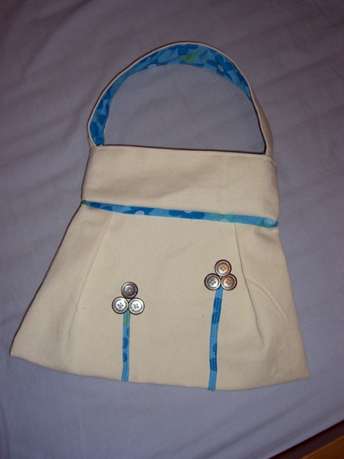 Blue and Beige Flower Handbag